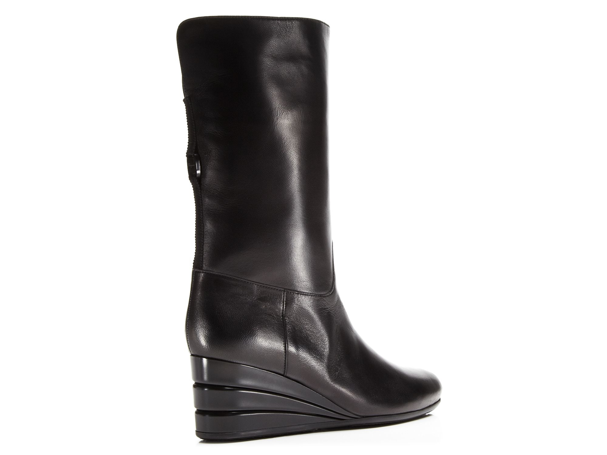 ferragamo my winter leather wedge boots in black lyst