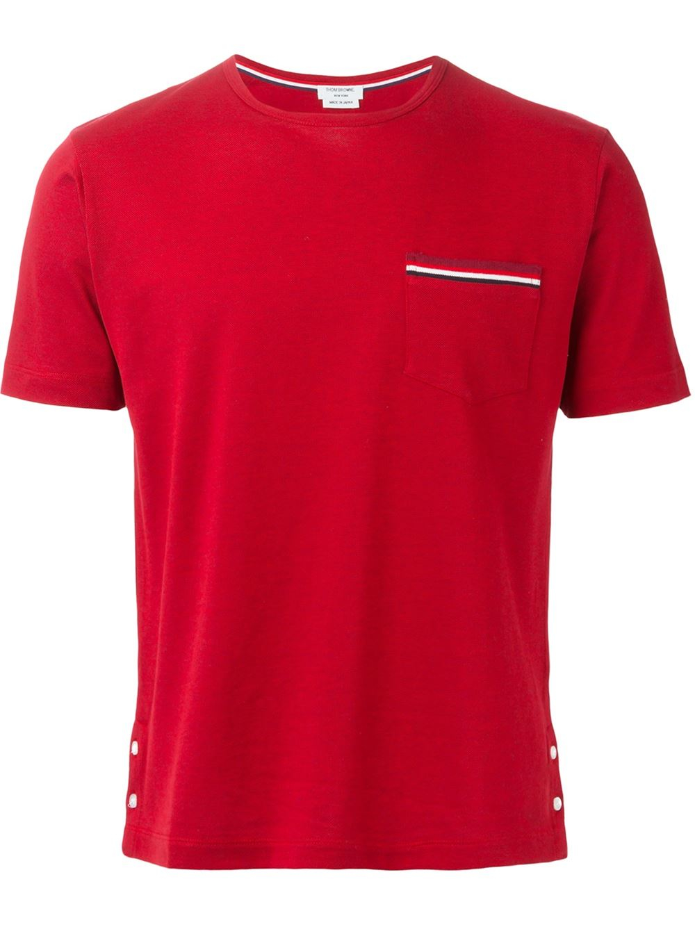 Thom browne patch pocket piquet t shirt in red for men lyst for Thom browne t shirt