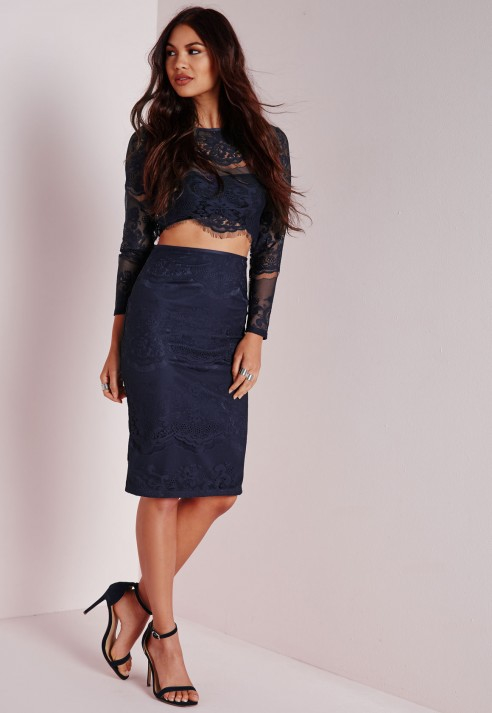 Missguided Lace Midi Skirt Navy in Blue | Lyst