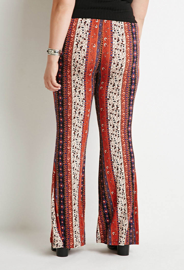 cf5f25081f32c Lyst - Forever 21 Plus Size Floral-stripe Flared Pants You ve Been ...