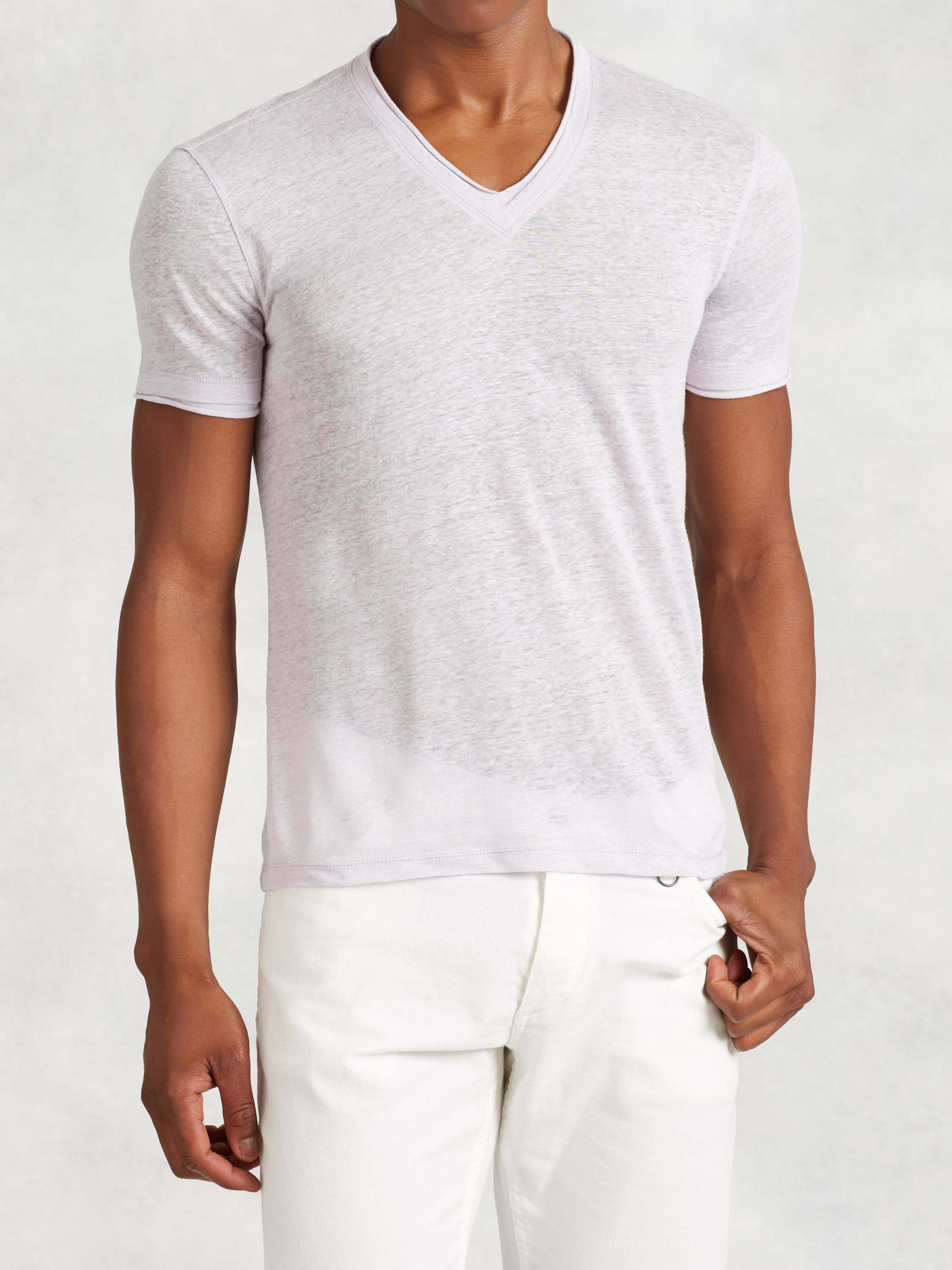 81cf8b8642 Lyst - John Varvatos Linen V-neck Tee in White for Men