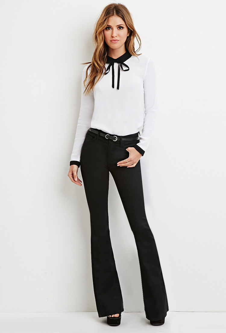 Lyst Forever 21 Contrast Peter Pan Collar Blouse In Black