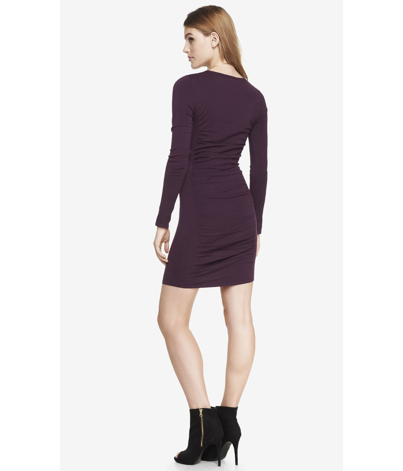 Express Burgundy Ruched Sweater Dress in Purple | Lyst