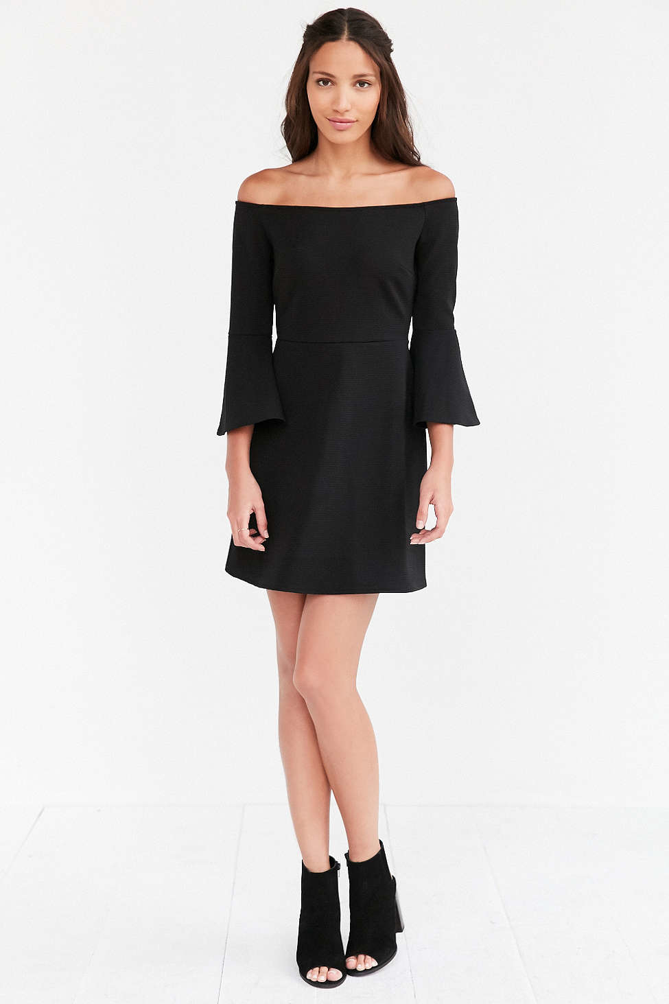 Cooperative Off The Shoulder Bell Sleeve Dress In Black Lyst