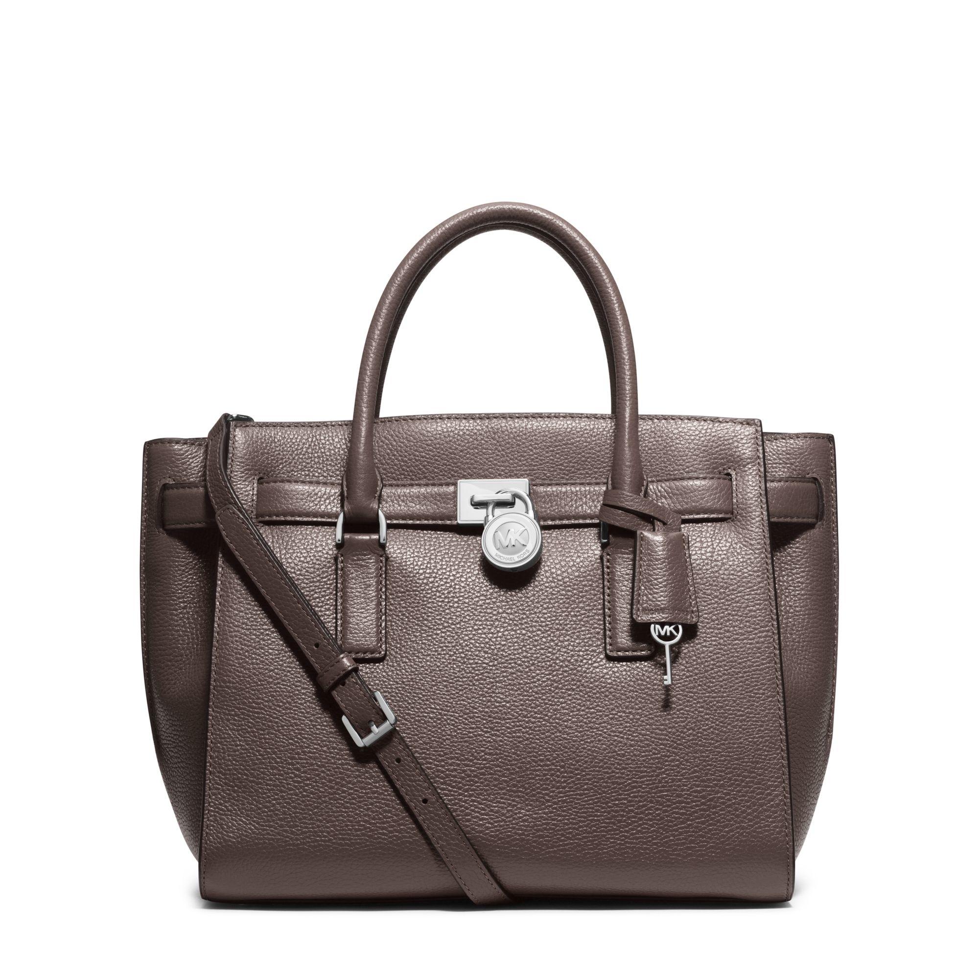 lyst michael kors hamilton traveler large leather satchel in gray rh lyst com