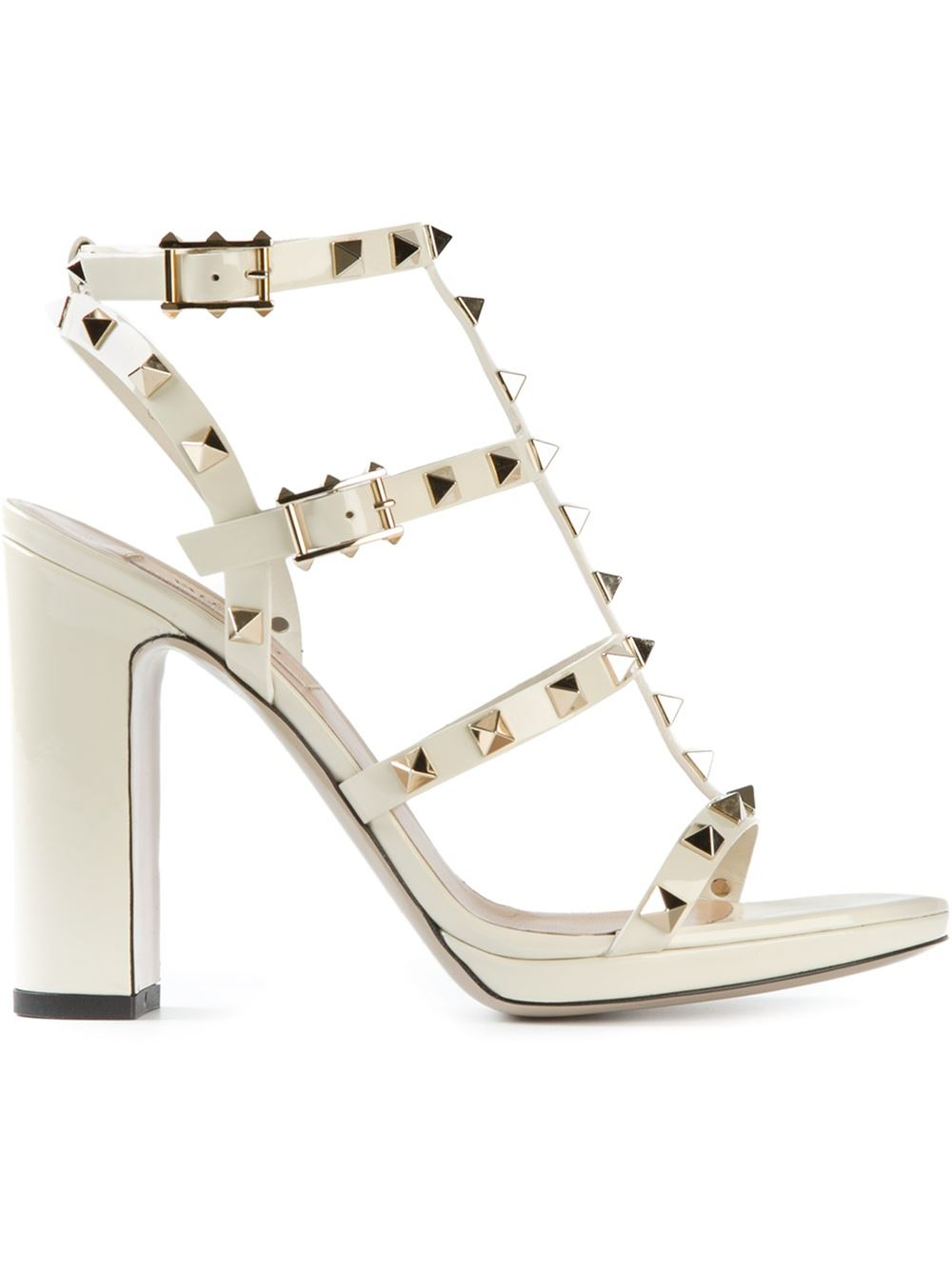 3324fdc131d Valentino Rockstud Sandals in White - Lyst