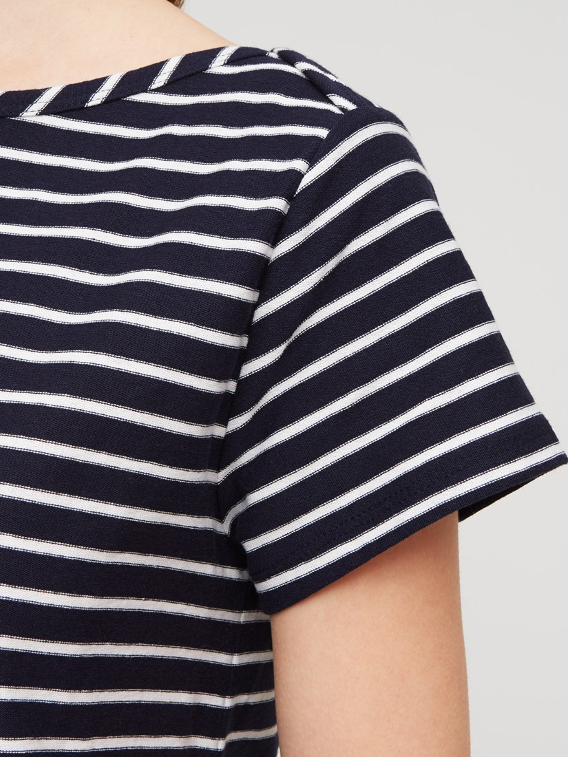 Jigsaw Striped Boat Neck T Shirt Dress In Blue Lyst