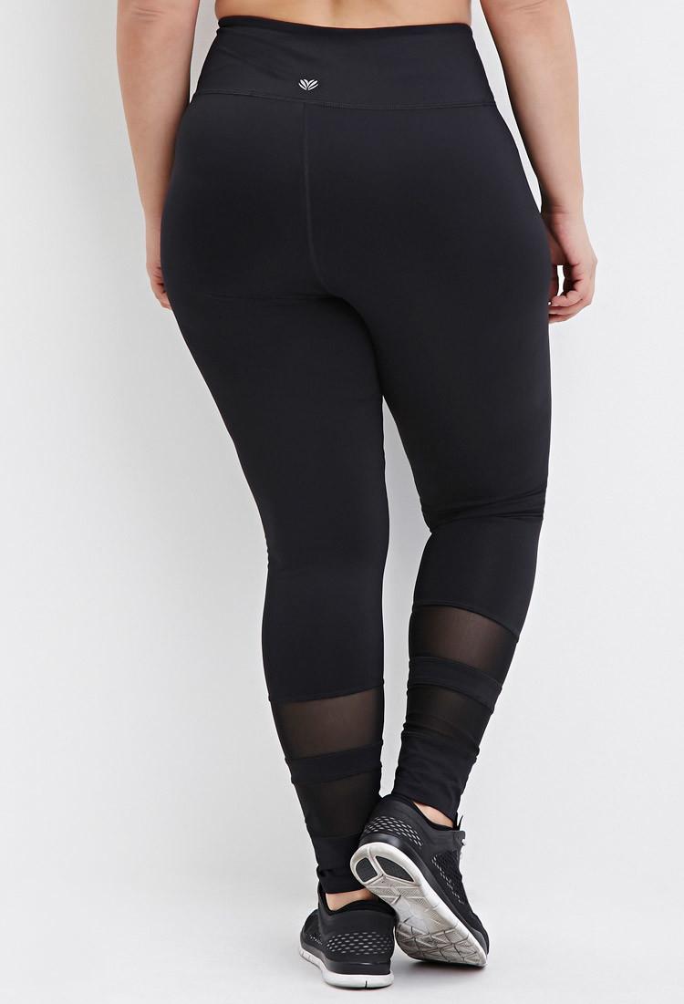 7286c5d4456129 Forever 21 Plus Size Mesh-trimmed Athletic Leggings in Black - Lyst