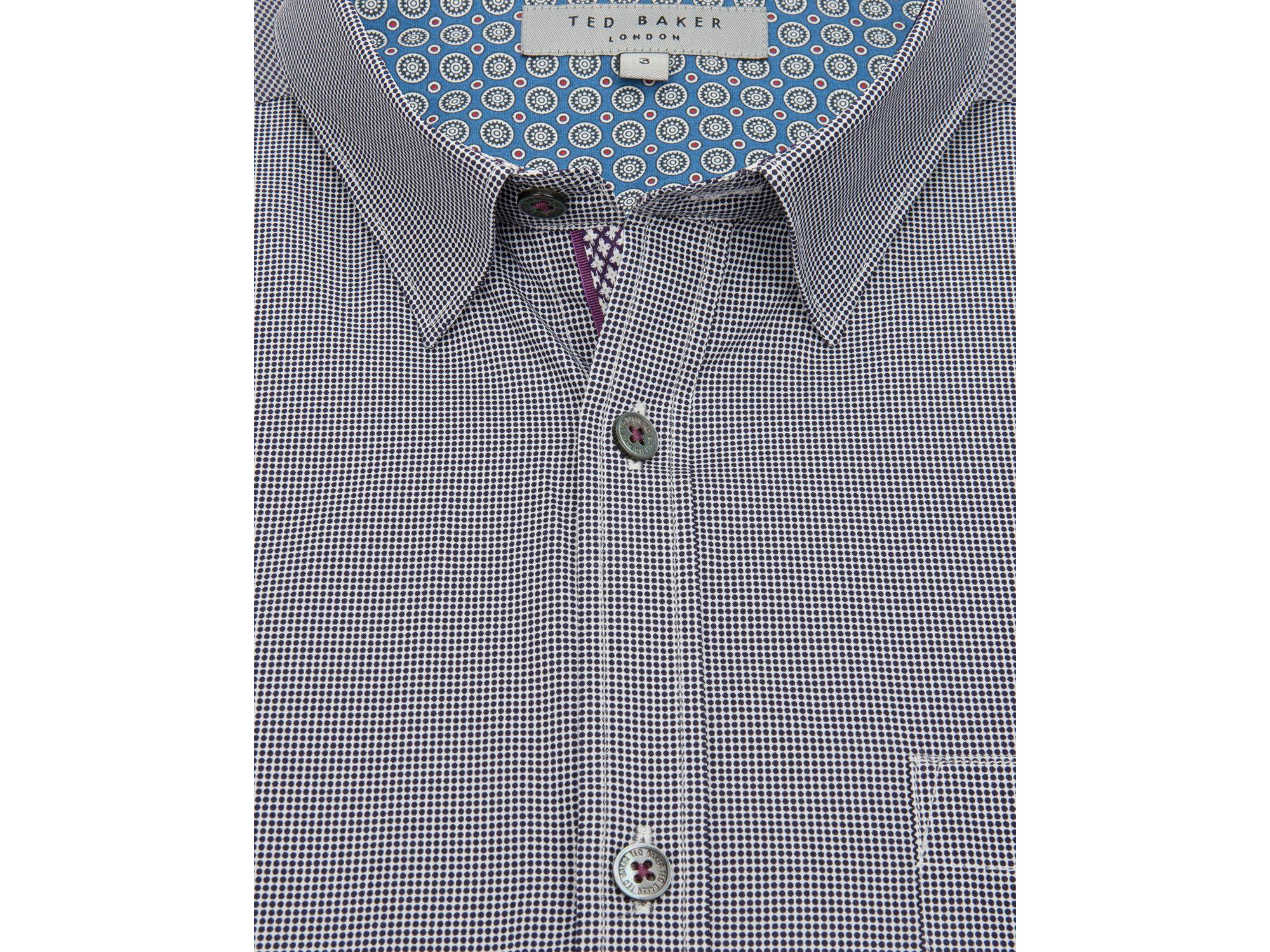 Ted Baker Spot Pattern Button Down Shirt Regular Fit In