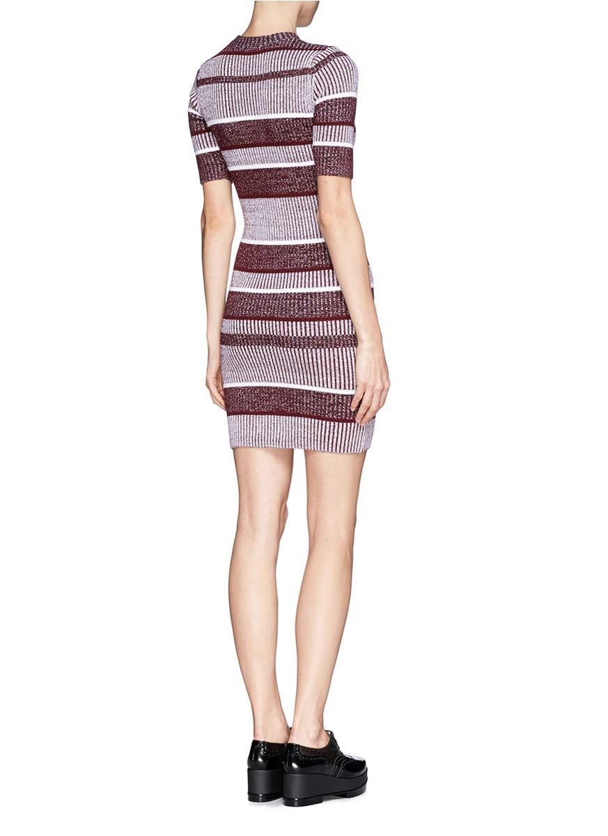 4f2d722bdb T By Alexander Wang Rib Knit Bodycon Dress in Purple - Lyst