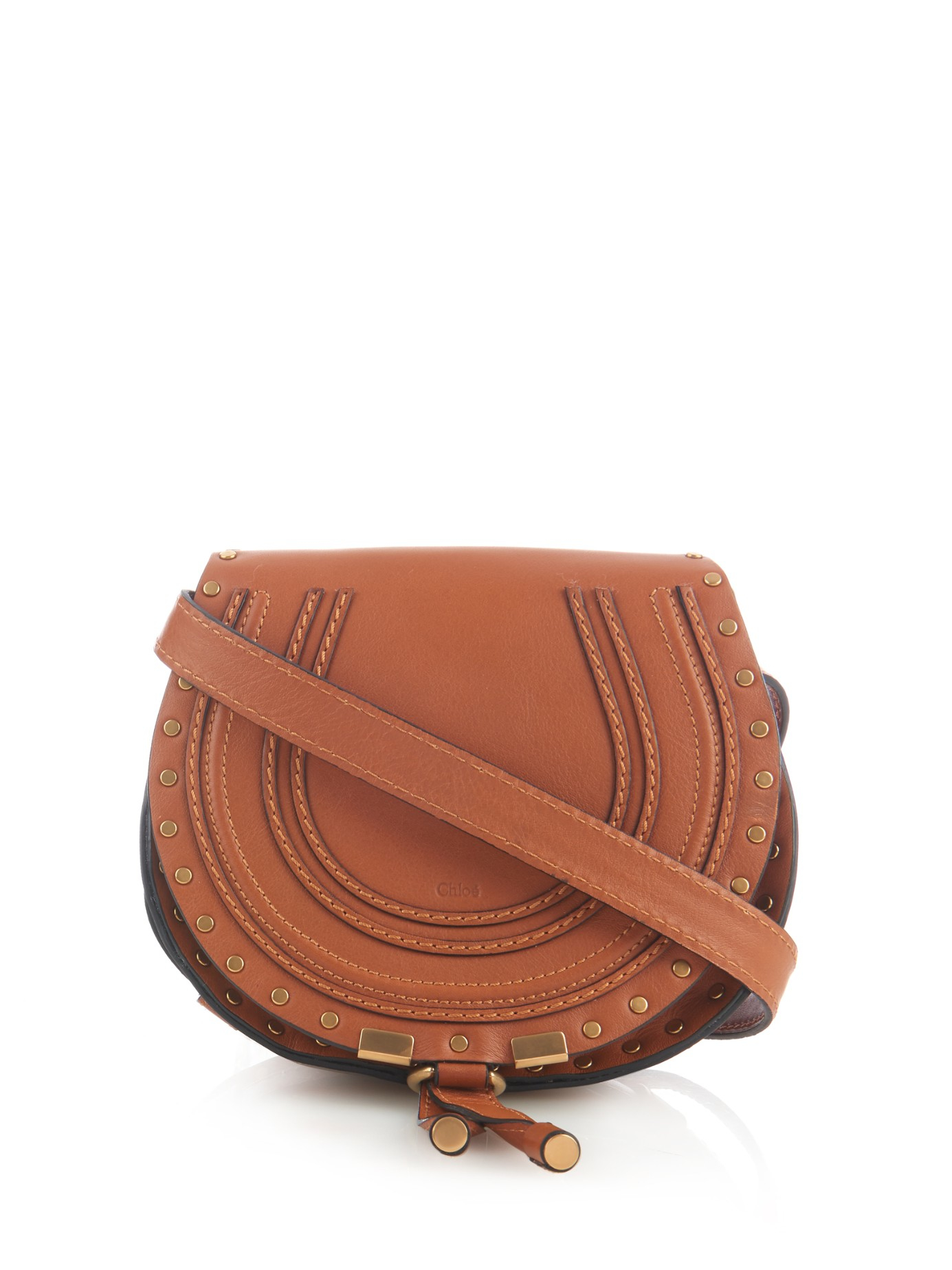d3b0853b37bd Chloé Marcie Mini Studded Leather Cross-body Bag in Brown - Lyst
