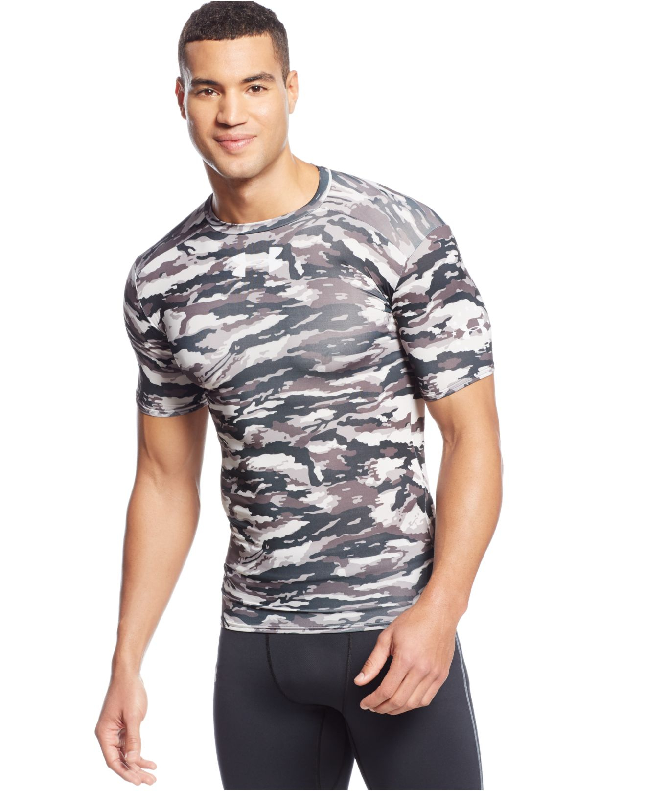 fae830b5 Under Armour Woodland Compression T-shirt in Black for Men - Lyst