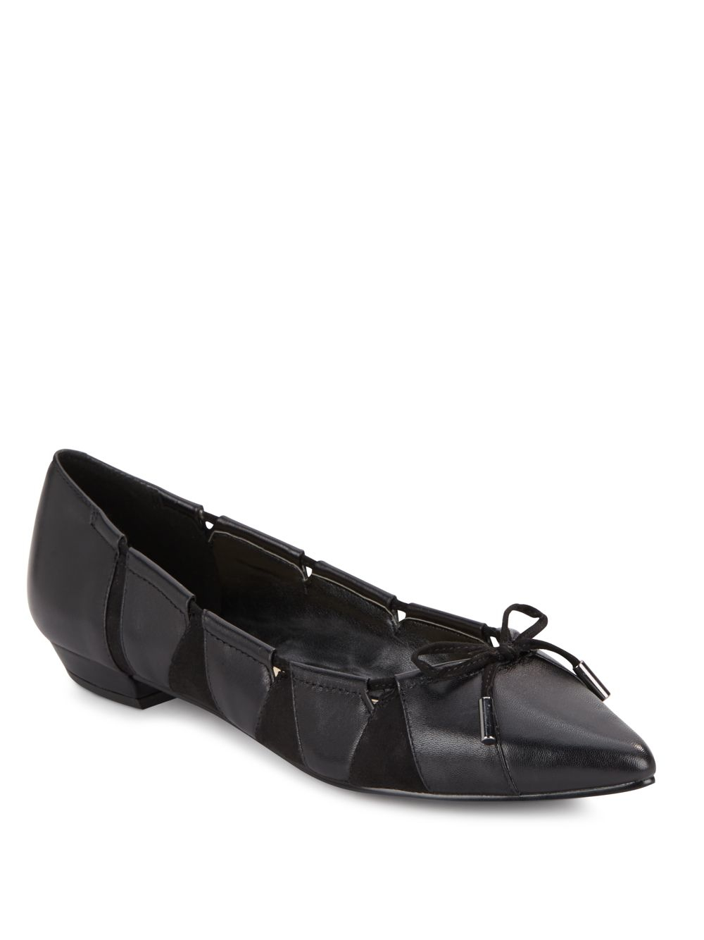 nine west tallett leather suede flats in black lyst