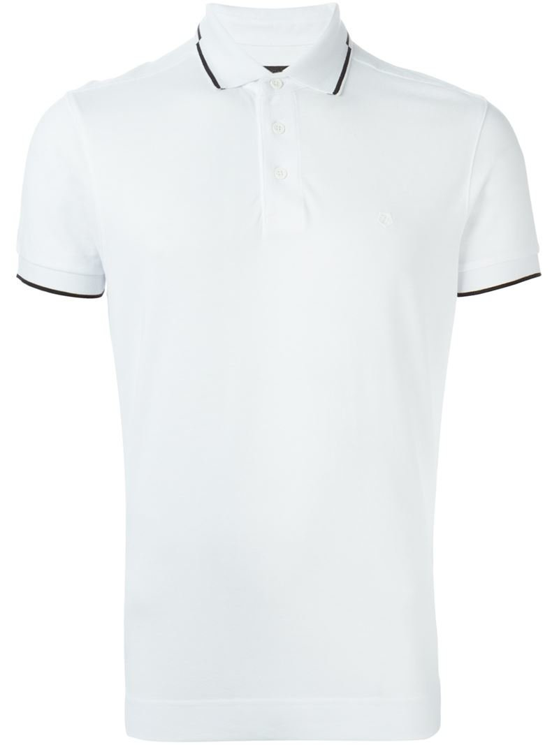 Z zegna classic polo shirt in white for men lyst for Zegna polo shirts sale