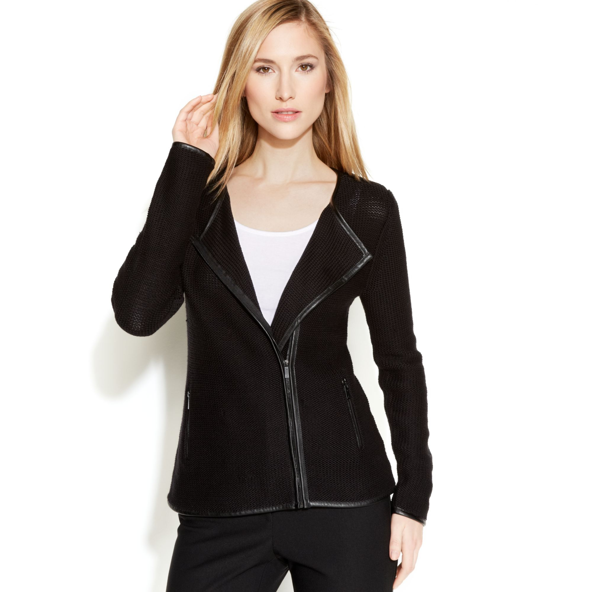 calvin klein zipfront knit sweater jacket in black lyst. Black Bedroom Furniture Sets. Home Design Ideas