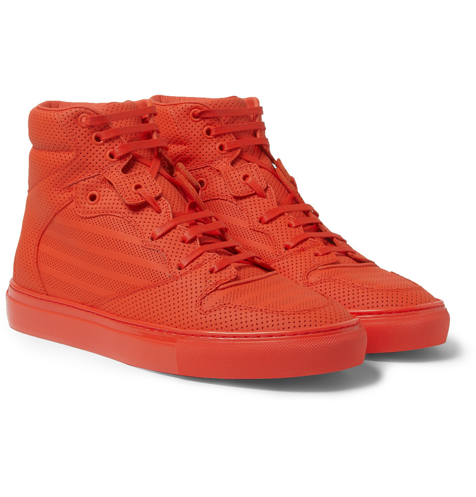 Lyst - Balenciaga Pleated High-Top Sneakers in Red for Men