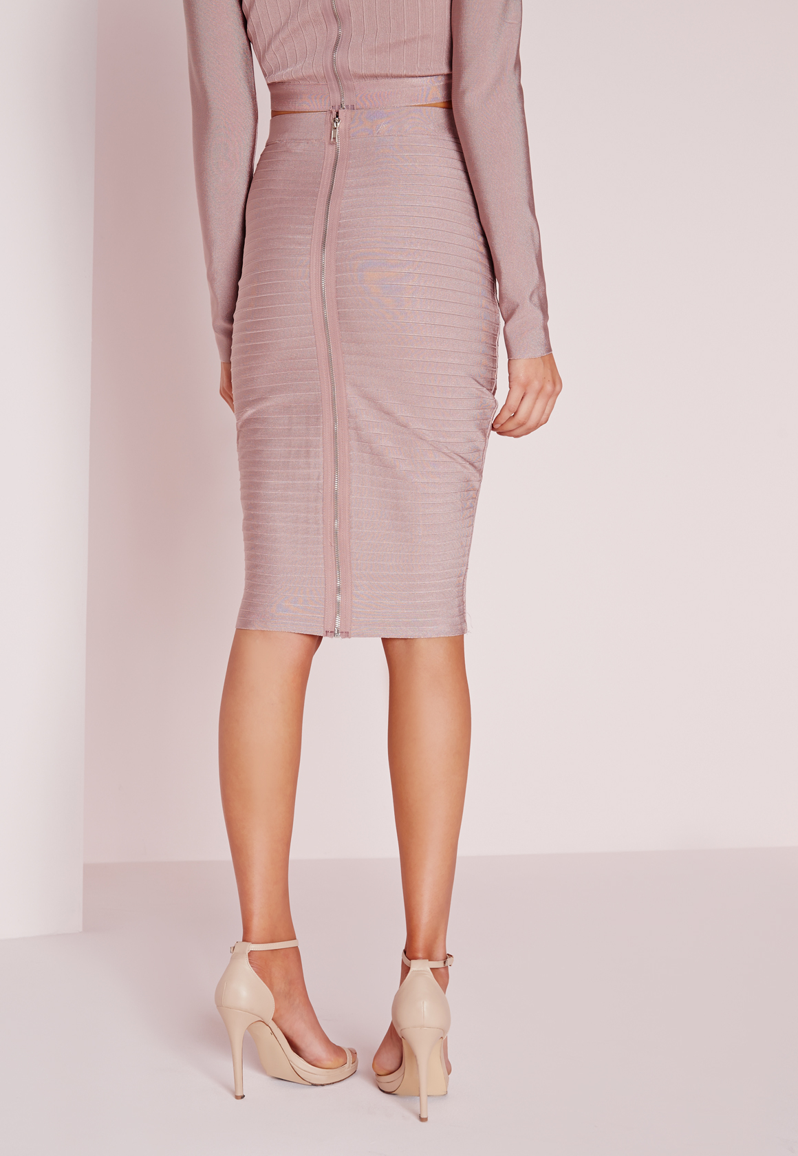 missguided ribbed bandage midi skirt mauve in lyst