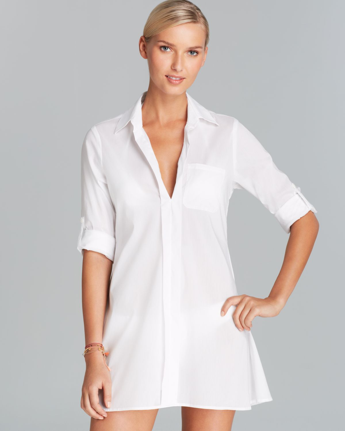 4558f7e1ee021 Lyst - Tommy Bahama Woven Hilow Boyfriend Shirt Swim Cover Up in White