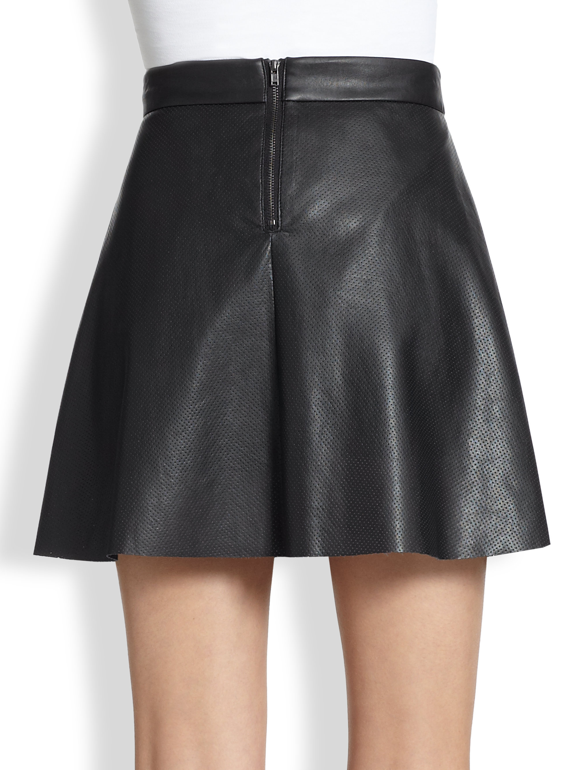 Lyst David Lerner Perforated Faux Leather Skirt In Black