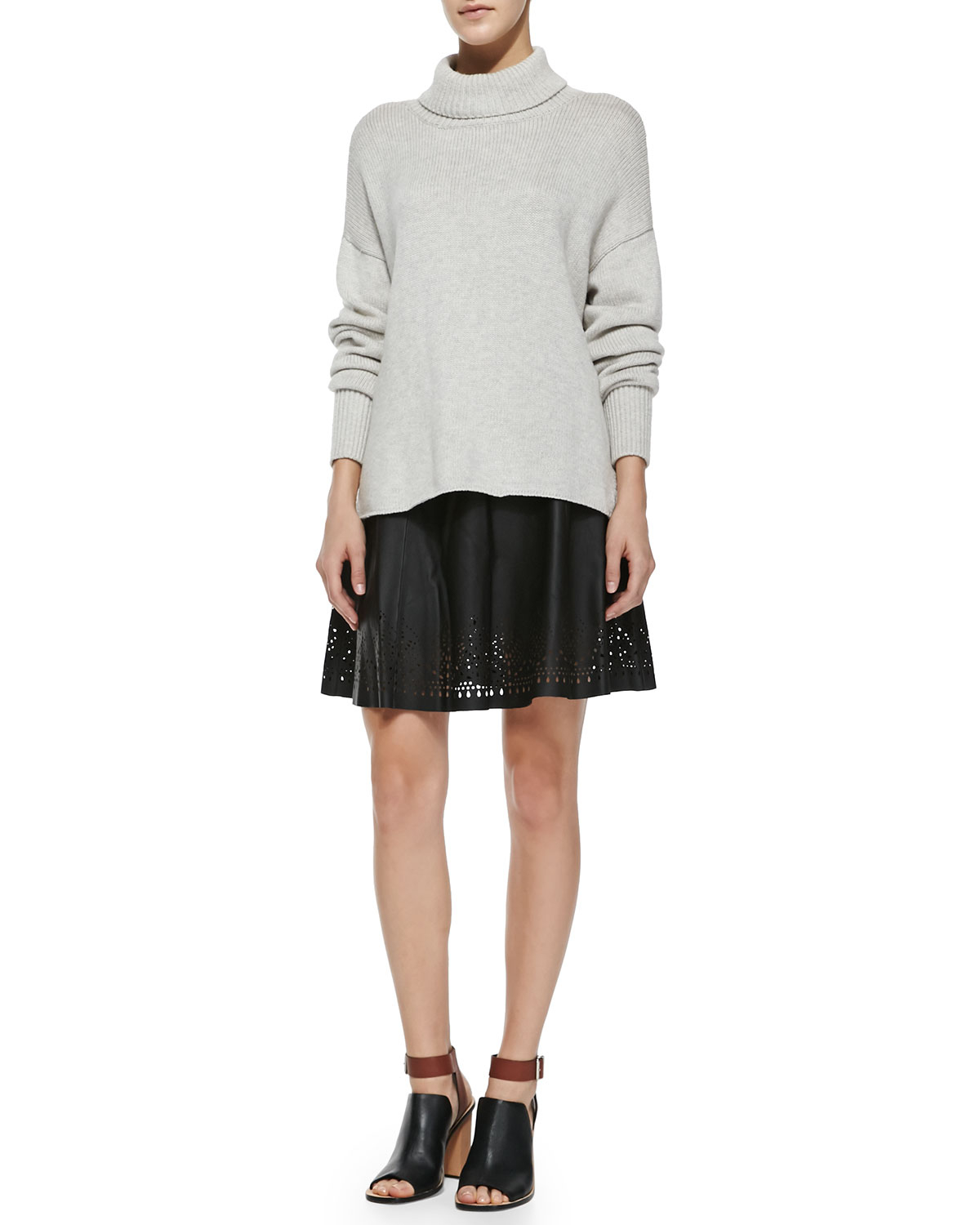 joie senica perforated hem leather skirt in black lyst