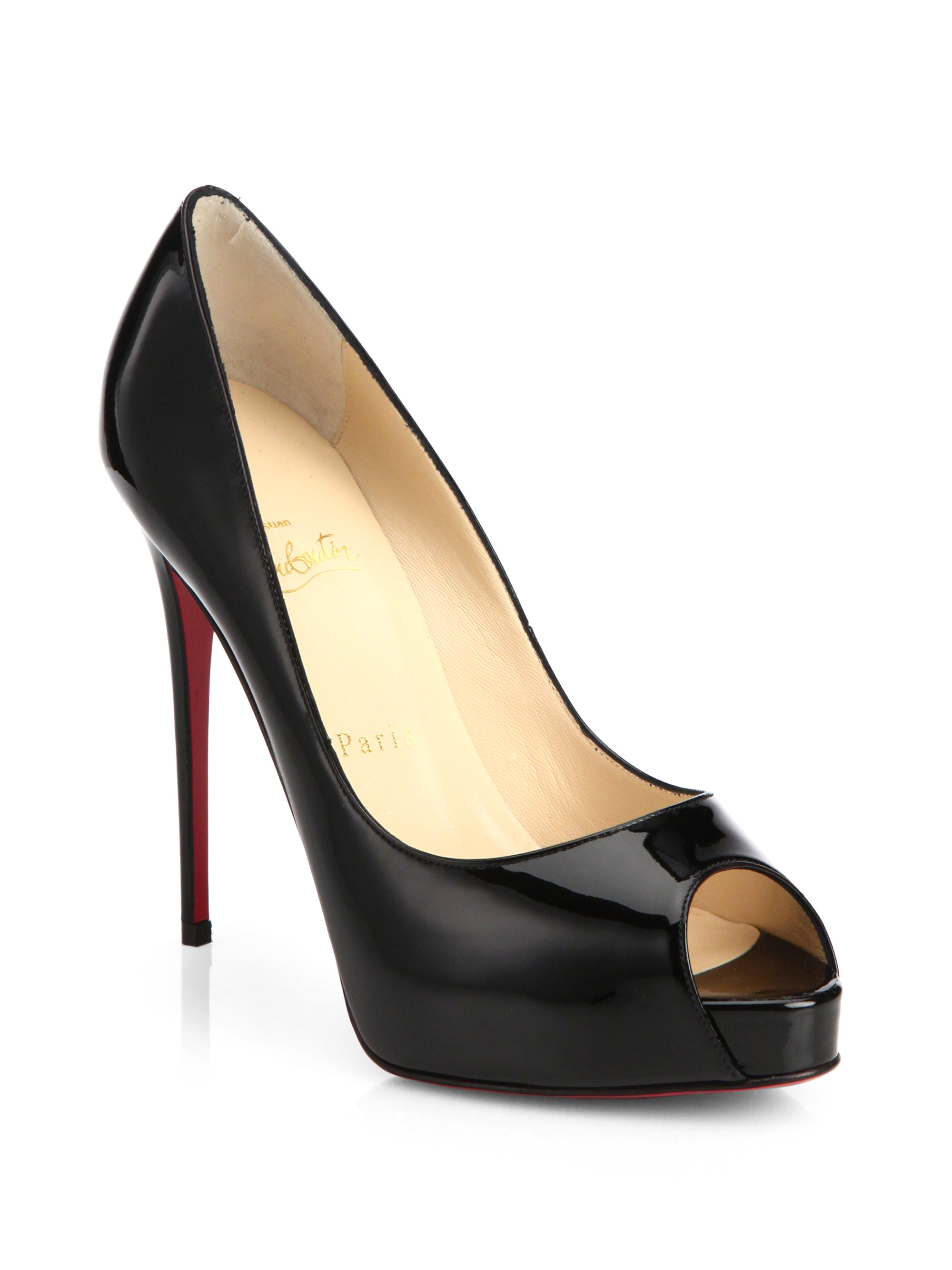 blue christian louboutin sneakers - Christian louboutin New Very Prive Patent Leather Peep-toe Pumps ...