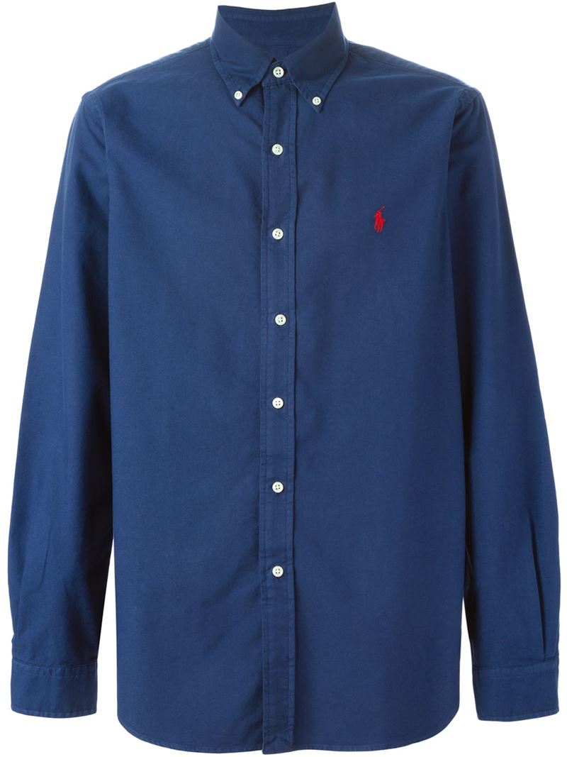 Polo Ralph Lauren Button Down Collar Shirt In Blue For Men