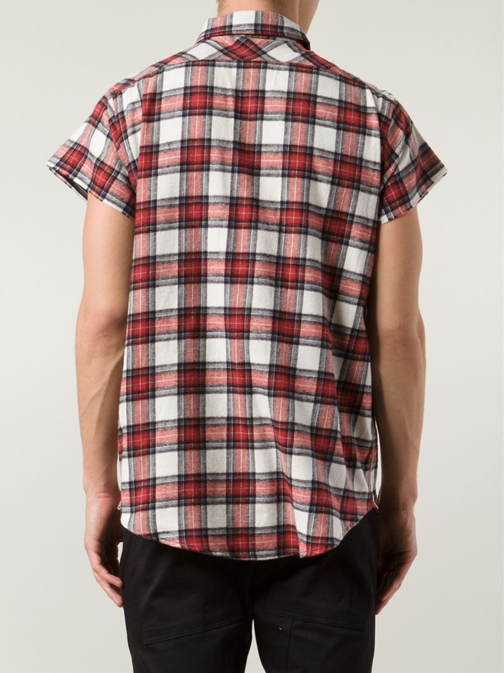Lyst fear of god short sleeve plaid shirt in red for men Short sleeve plaid shirts