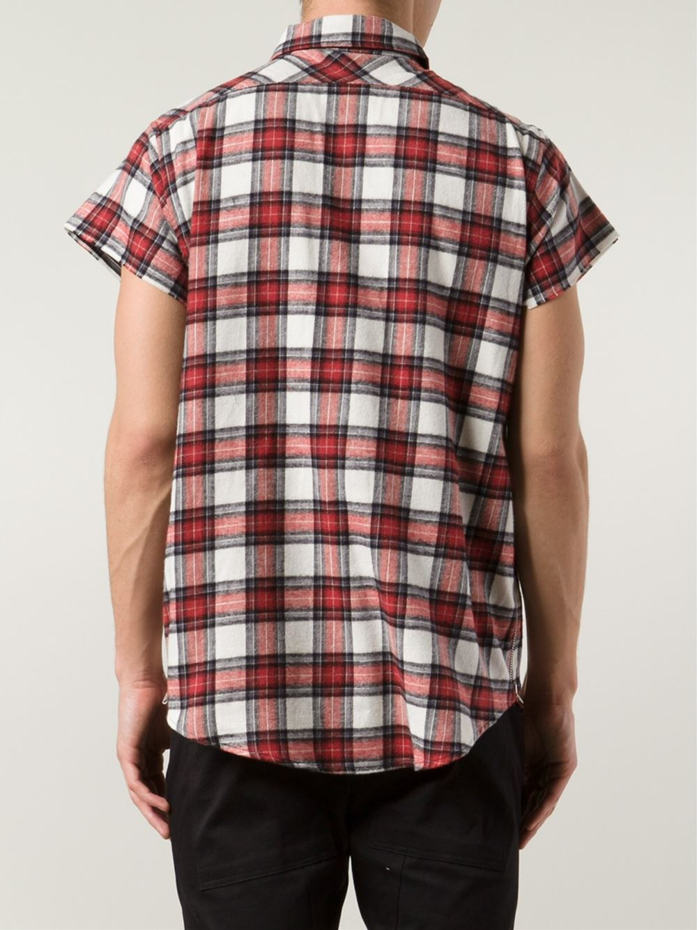 Lyst Fear Of God Short Sleeve Plaid Shirt In Red For Men: short sleeve plaid shirts
