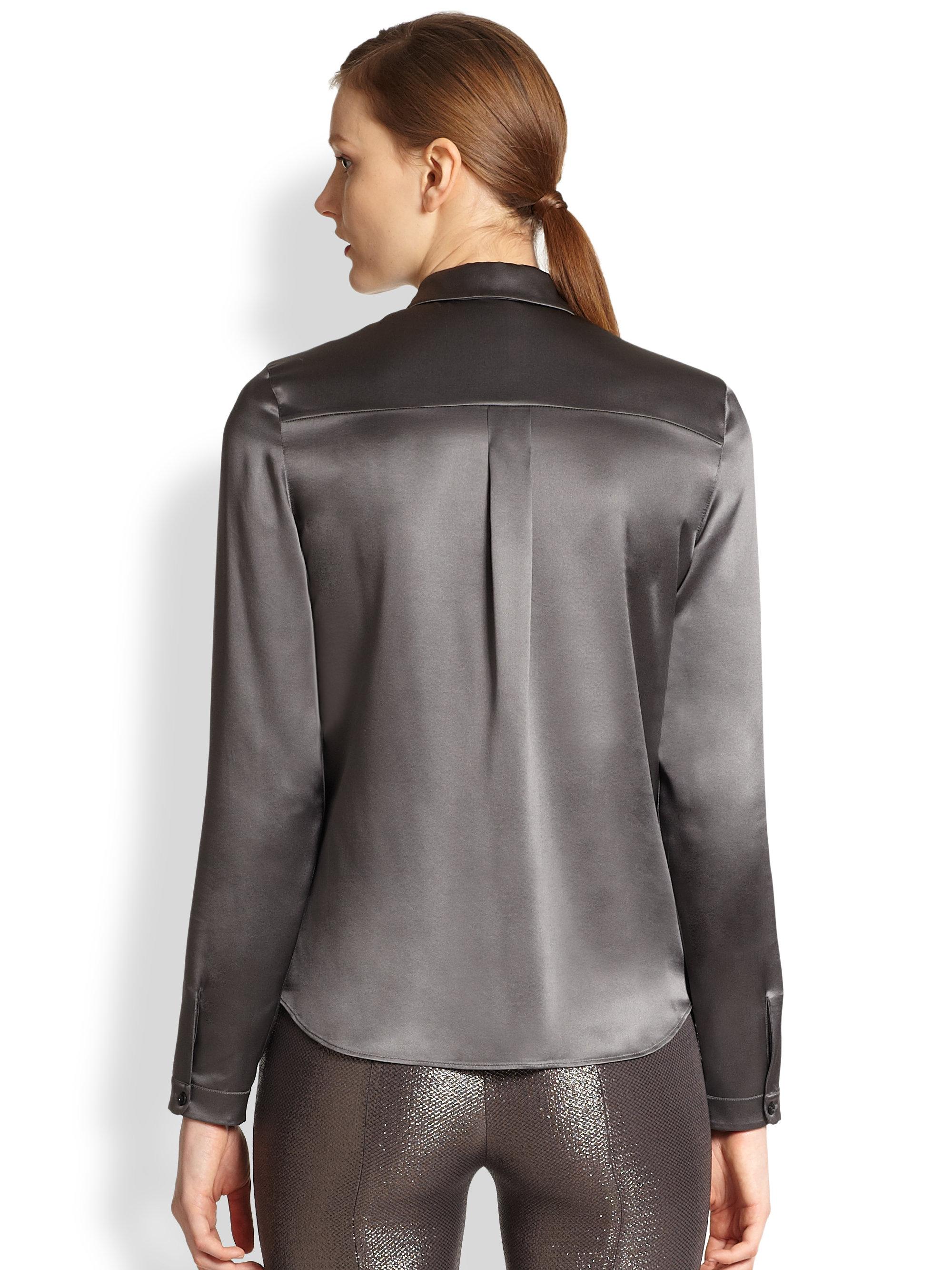Grey satin blouse silk panties and satin skirt - 83 part 1
