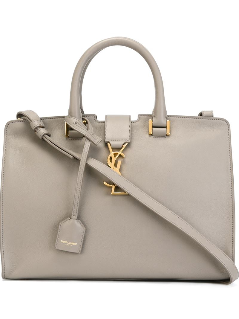 Lyst - Saint Laurent Small  Cabas Monogram  Tote in Natural d9631012951aa