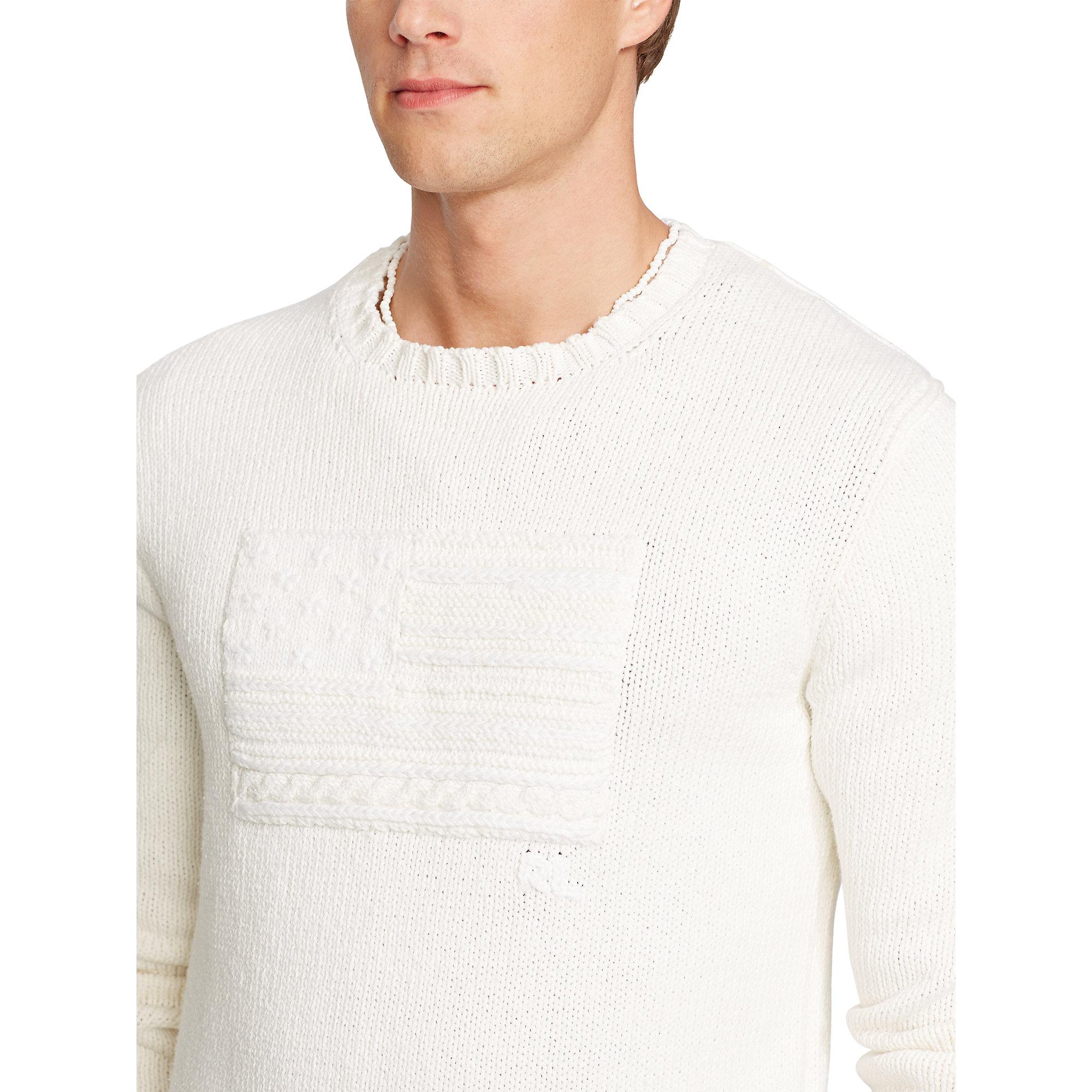 Polo ralph lauren Tonal-flag Cotton Sweater in White for Men   Lyst