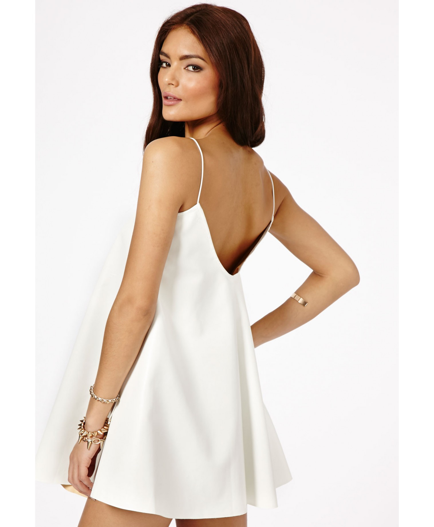 c2b1cf3dc991b Lyst - Missguided Nimesa Faux Leather Strappy Swing Dress In White ...