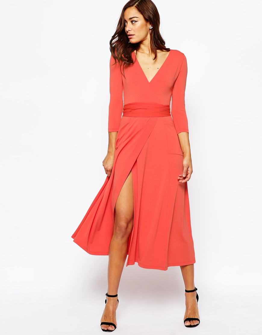Asos wrap maxi dress in jersey crepe in red lyst for Robe maxi mariage asos