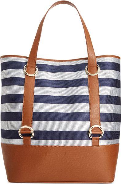 Ivanka Trump Blake Patent Shoulder Flap Bag in Blue (Navy Stripe)