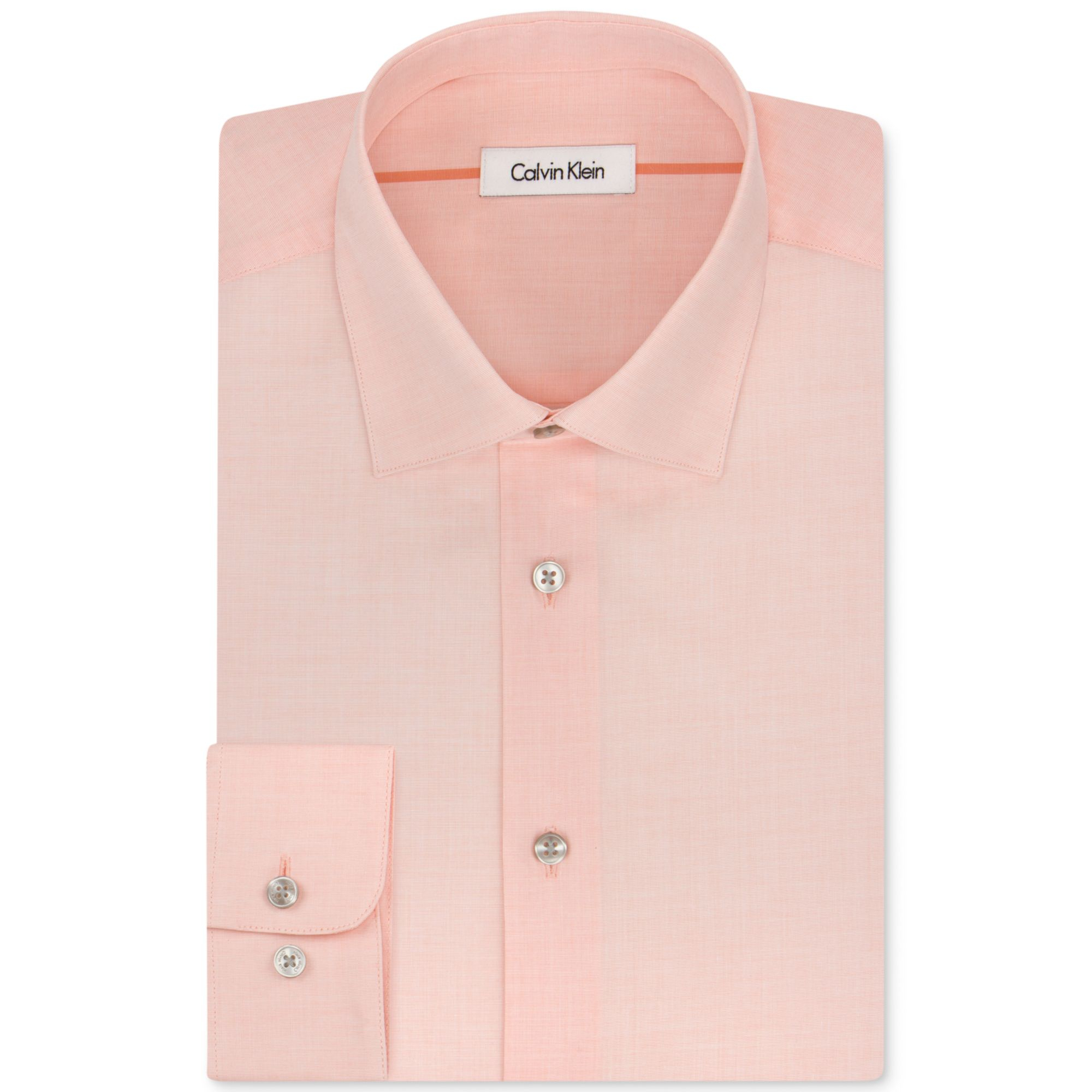 Calvin Klein Liquid Cotton Solid Light Peach Dress Shirt