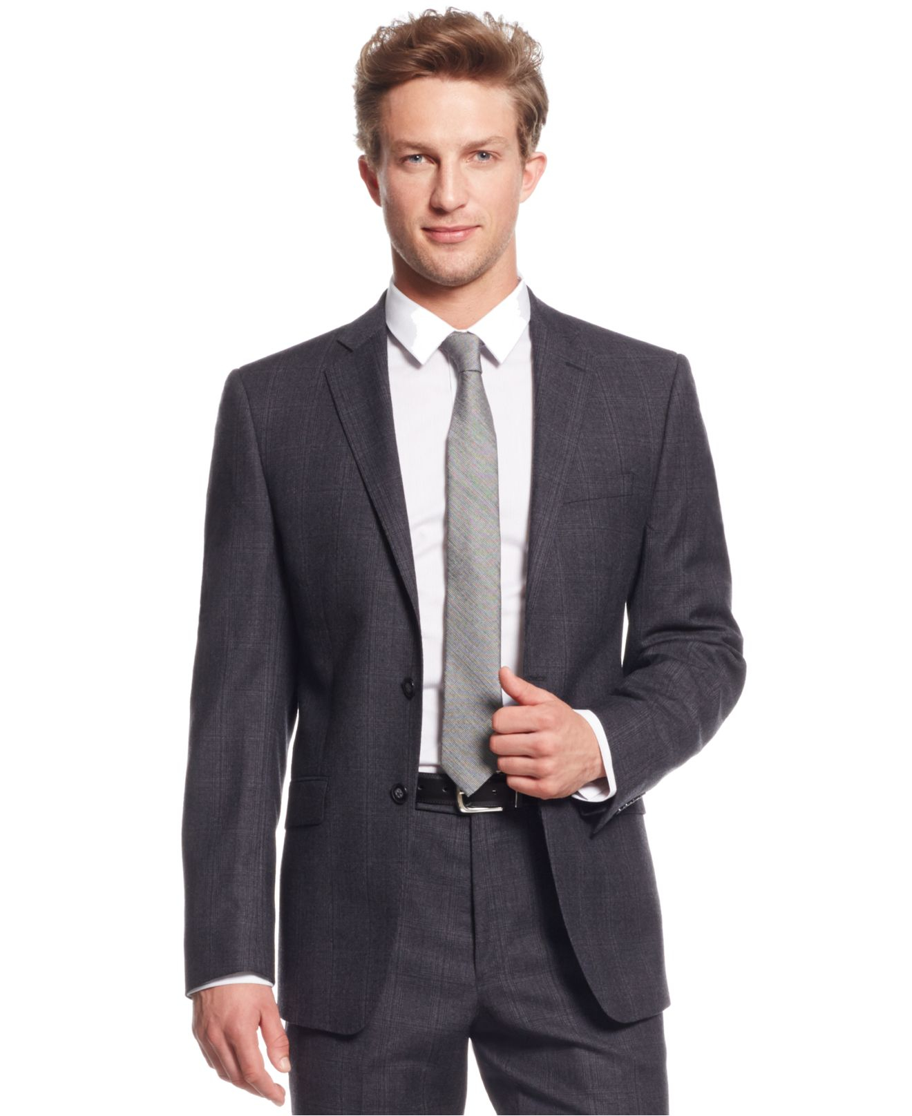 calvin klein grey plaid flannel extra slim fit suit in gray for men lyst. Black Bedroom Furniture Sets. Home Design Ideas