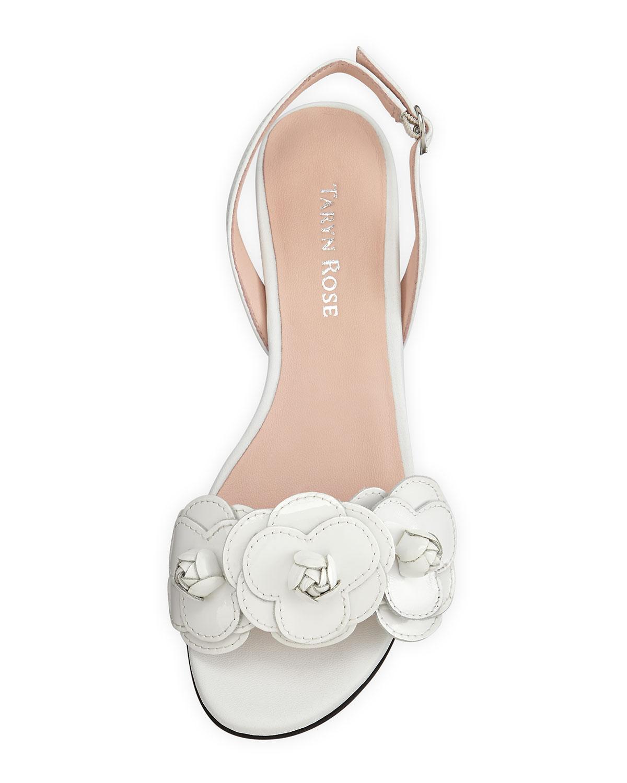 Lyst taryn rose ida flower slingback sandal in white gallery mightylinksfo
