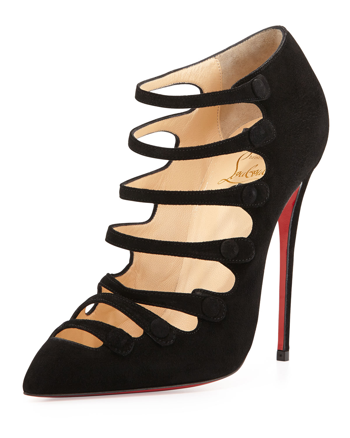 Christian louboutin Viennana Strappy Suede Red Sole Bootie in Red ...