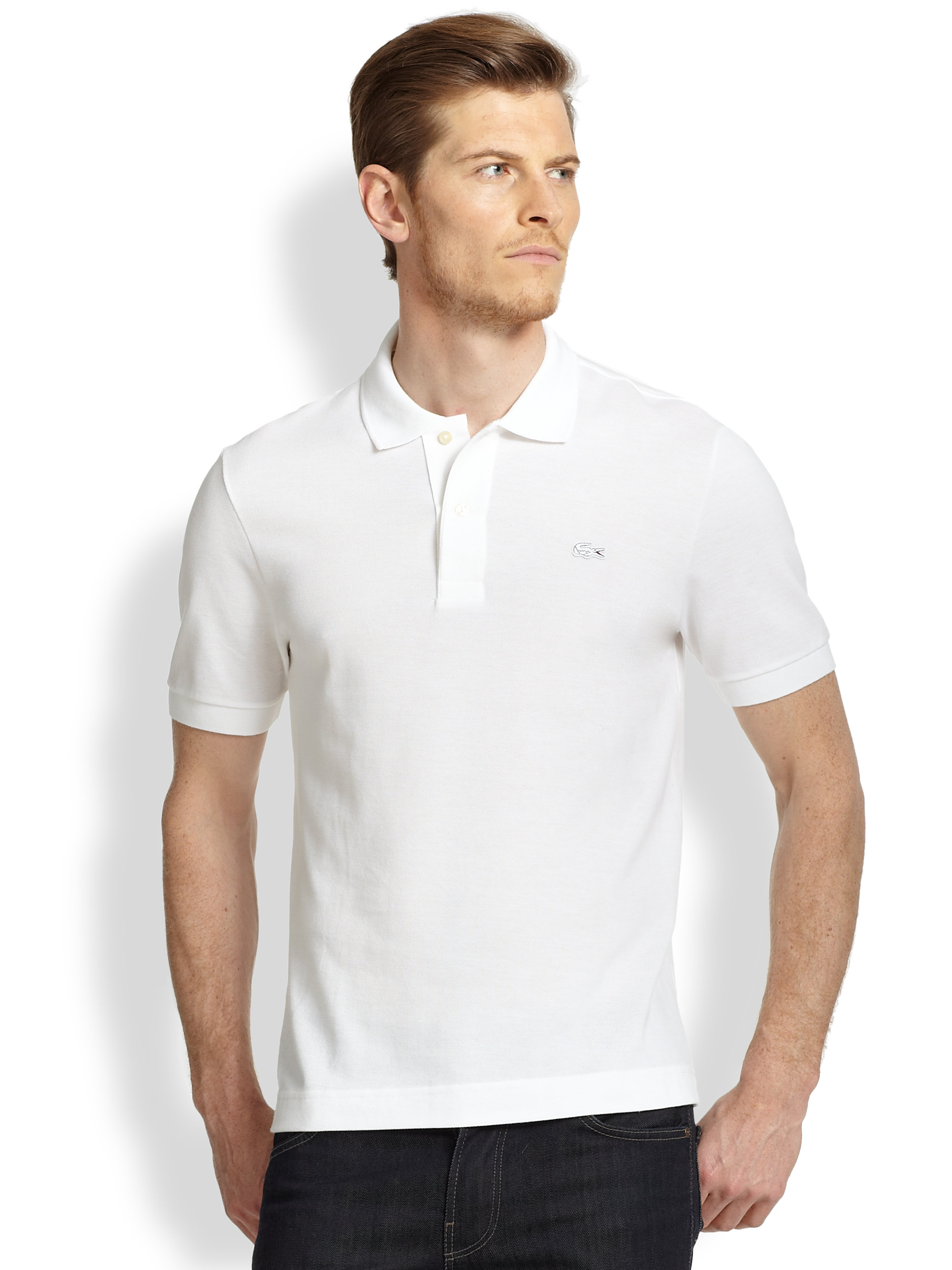 Lacoste tonal croc polo in white for men lyst for Boys lacoste polo shirt