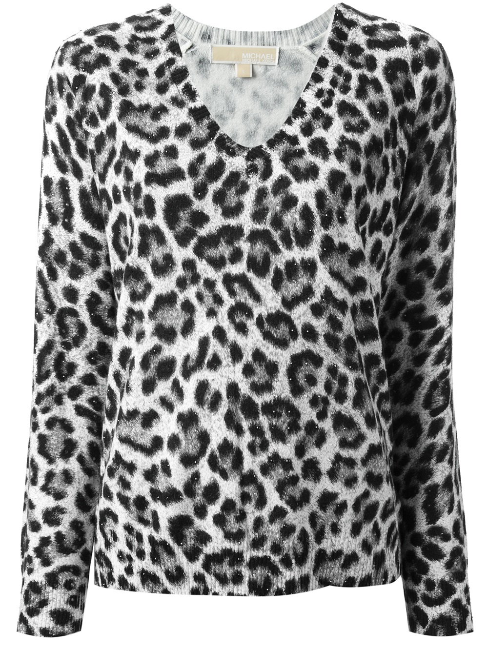 Michael michael kors Leopard Print Sweater in Black | Lyst