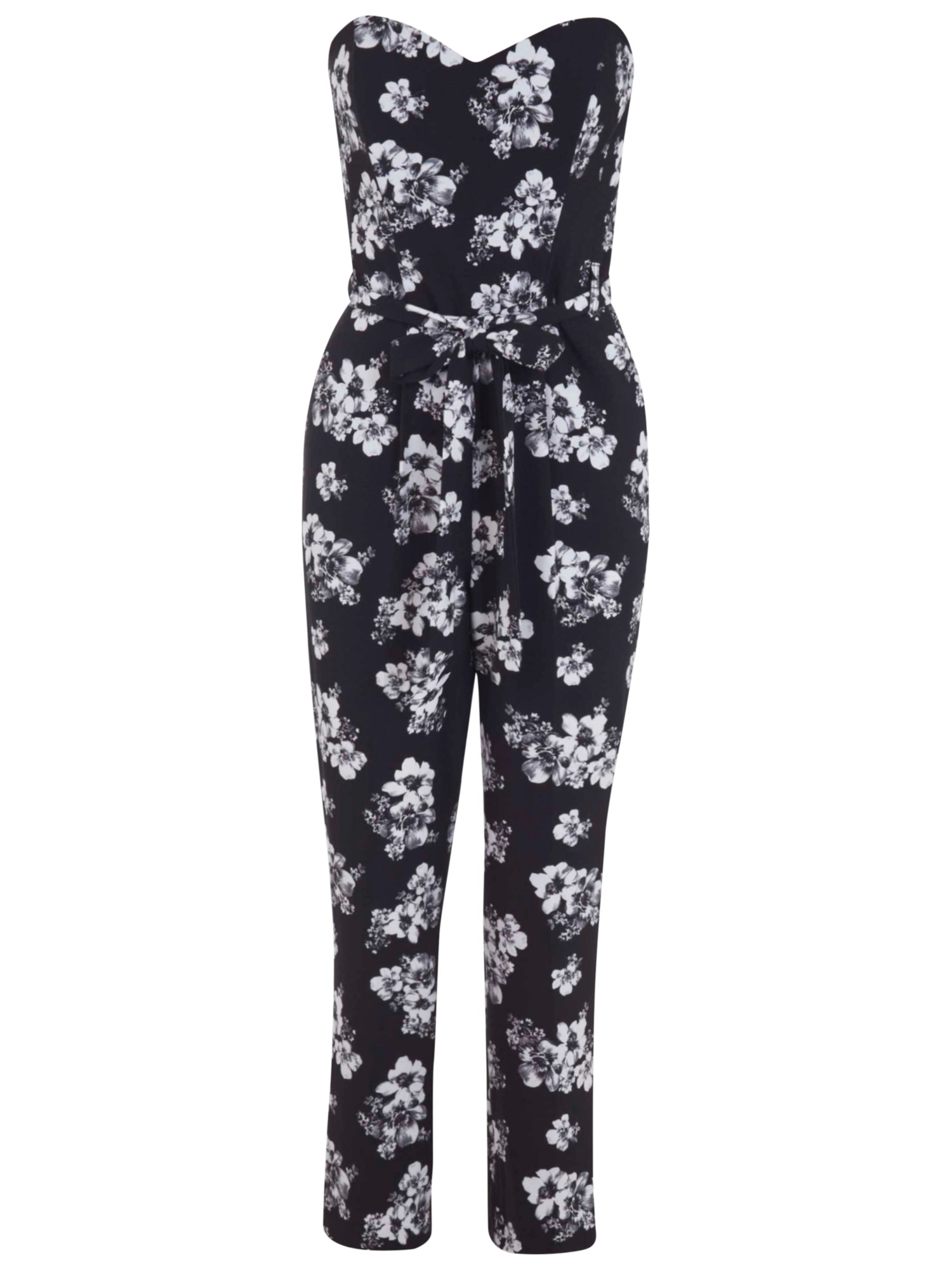 437b9d0b909 Miss Selfridge Bandeau Floral Print Jumpsuit in Black - Lyst