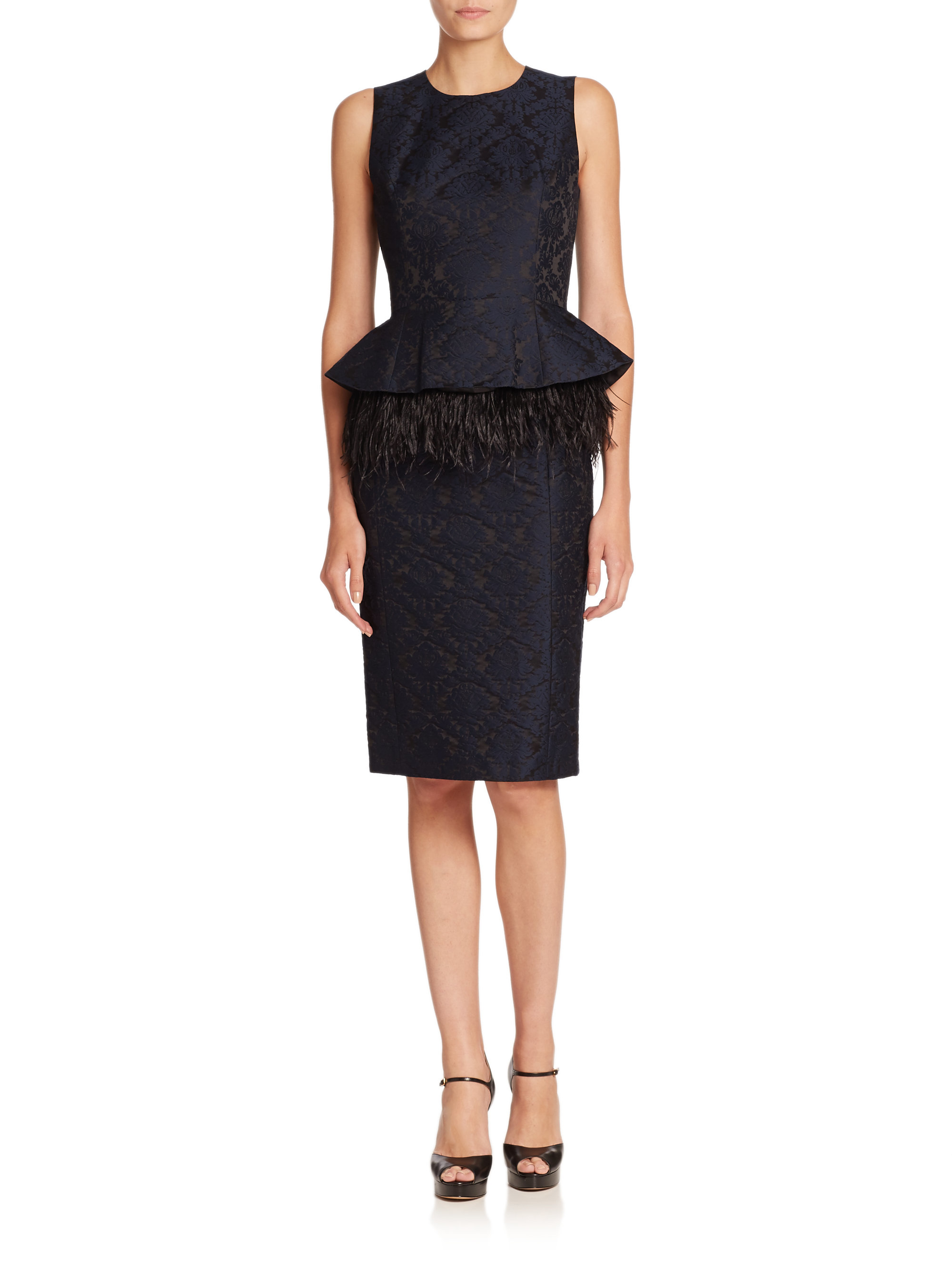 Lyst Michael Kors Feather Trimmed Brocade Peplum Dress