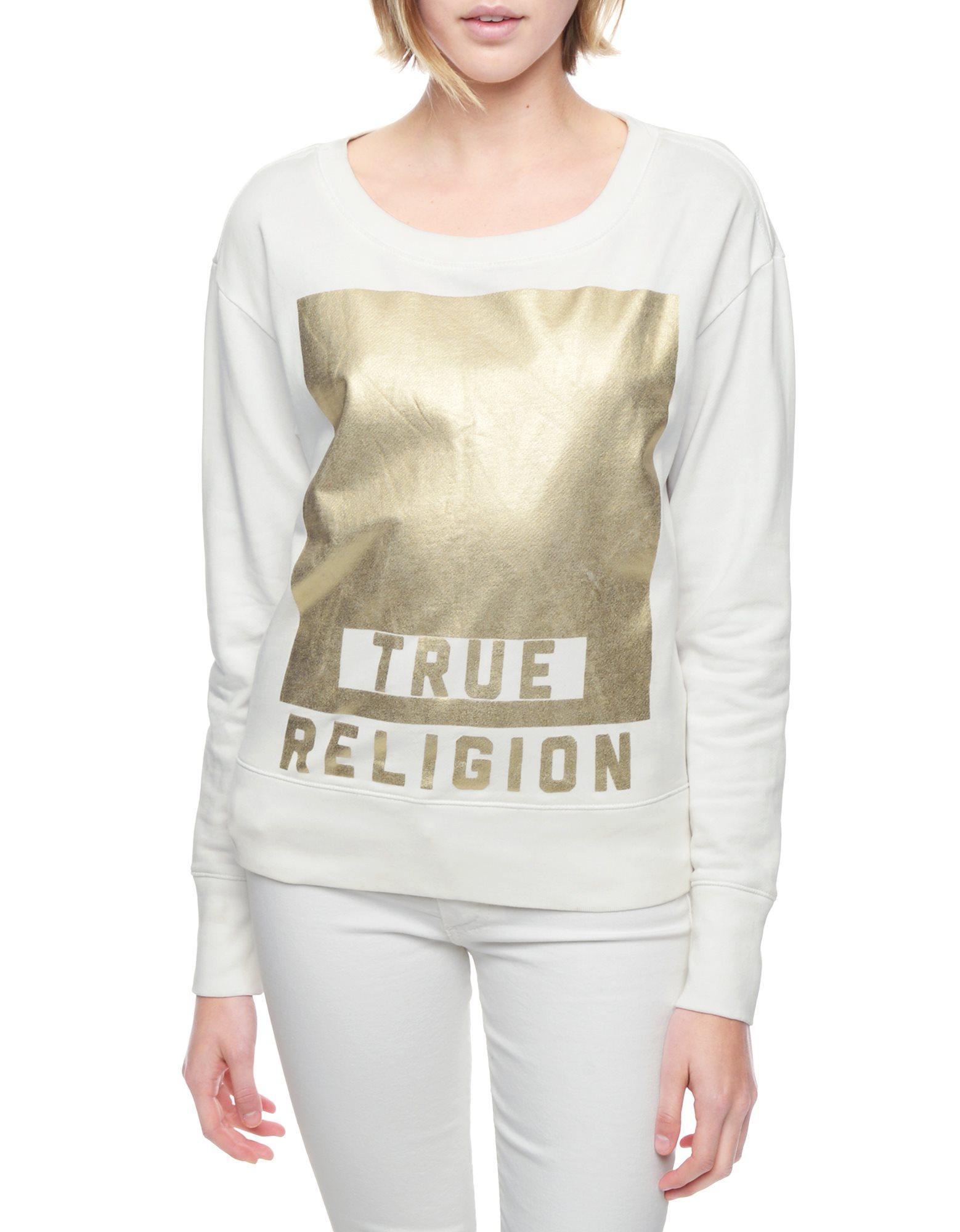 True religion Logo Foil Print Womens Sweatshirt in White ...