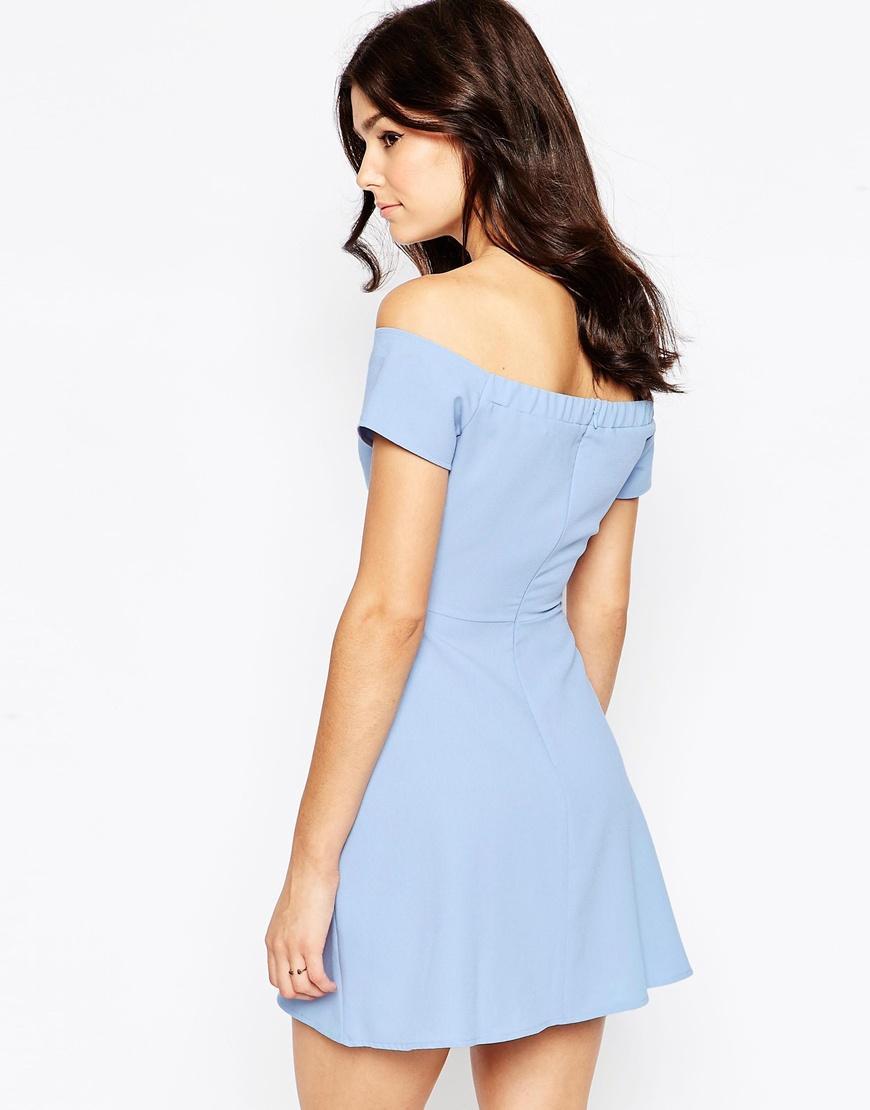 0b943f0e3f7a Off the Shoulder Blue Dress – Fashion dresses
