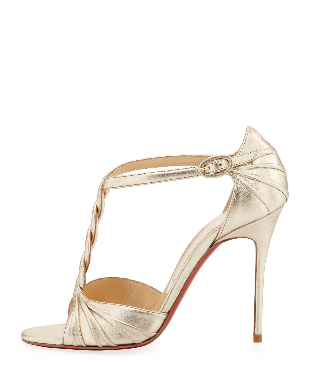 christian louboutin gold glitter sandals