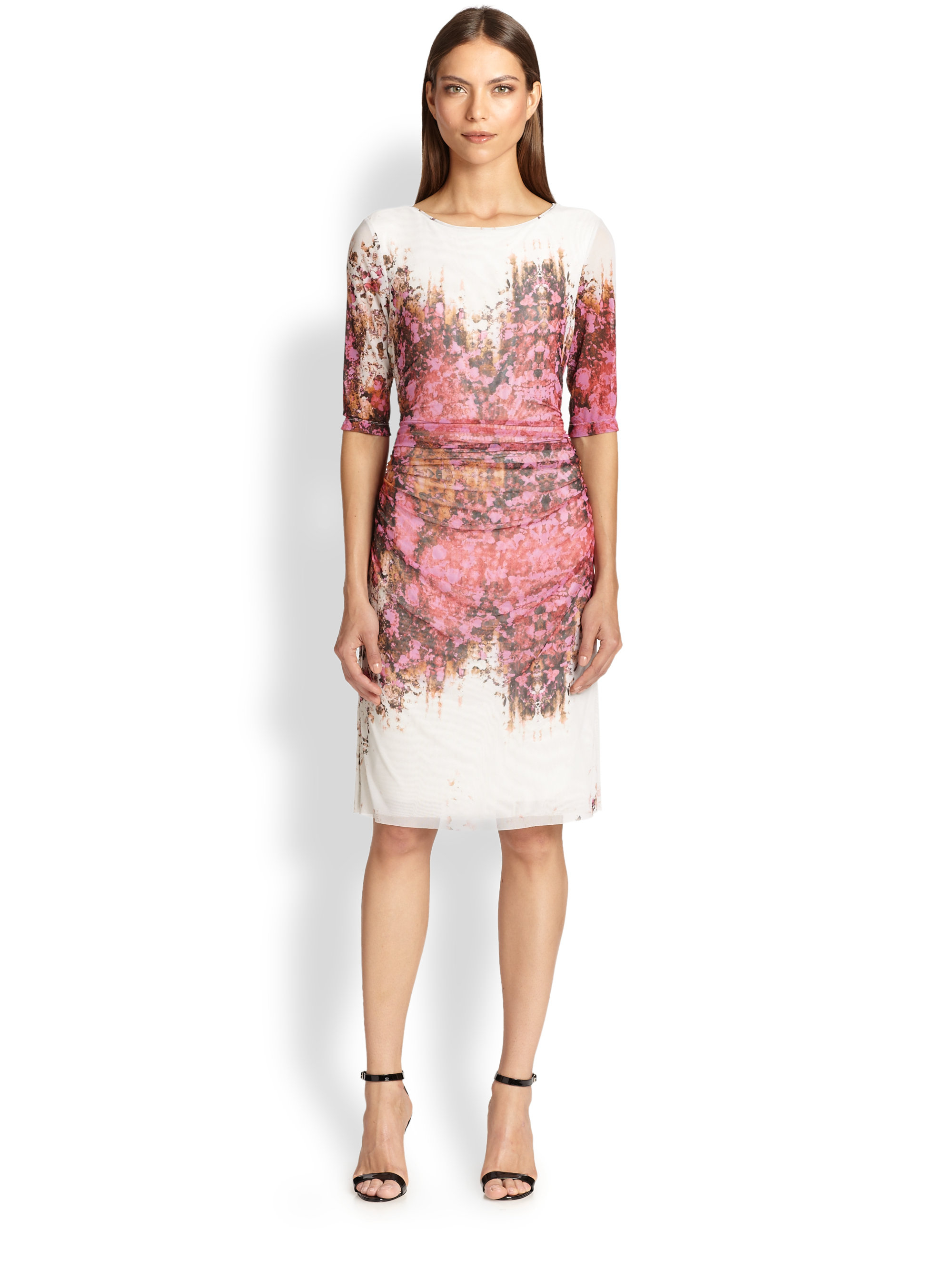 Lyst - Kay Unger Printed Mesh Dress in Pink