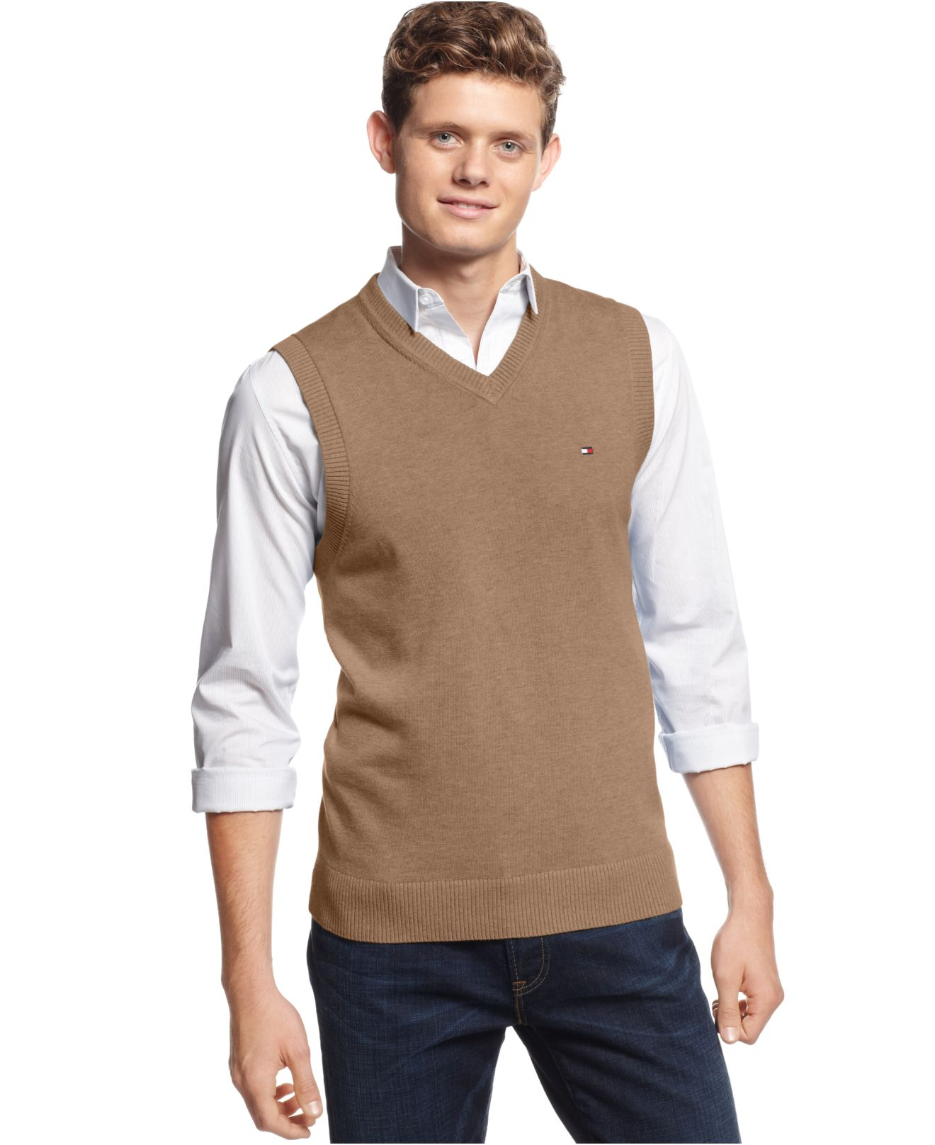 Tommy hilfiger Signature V-Neck Sweater Vest in Brown for Men | Lyst