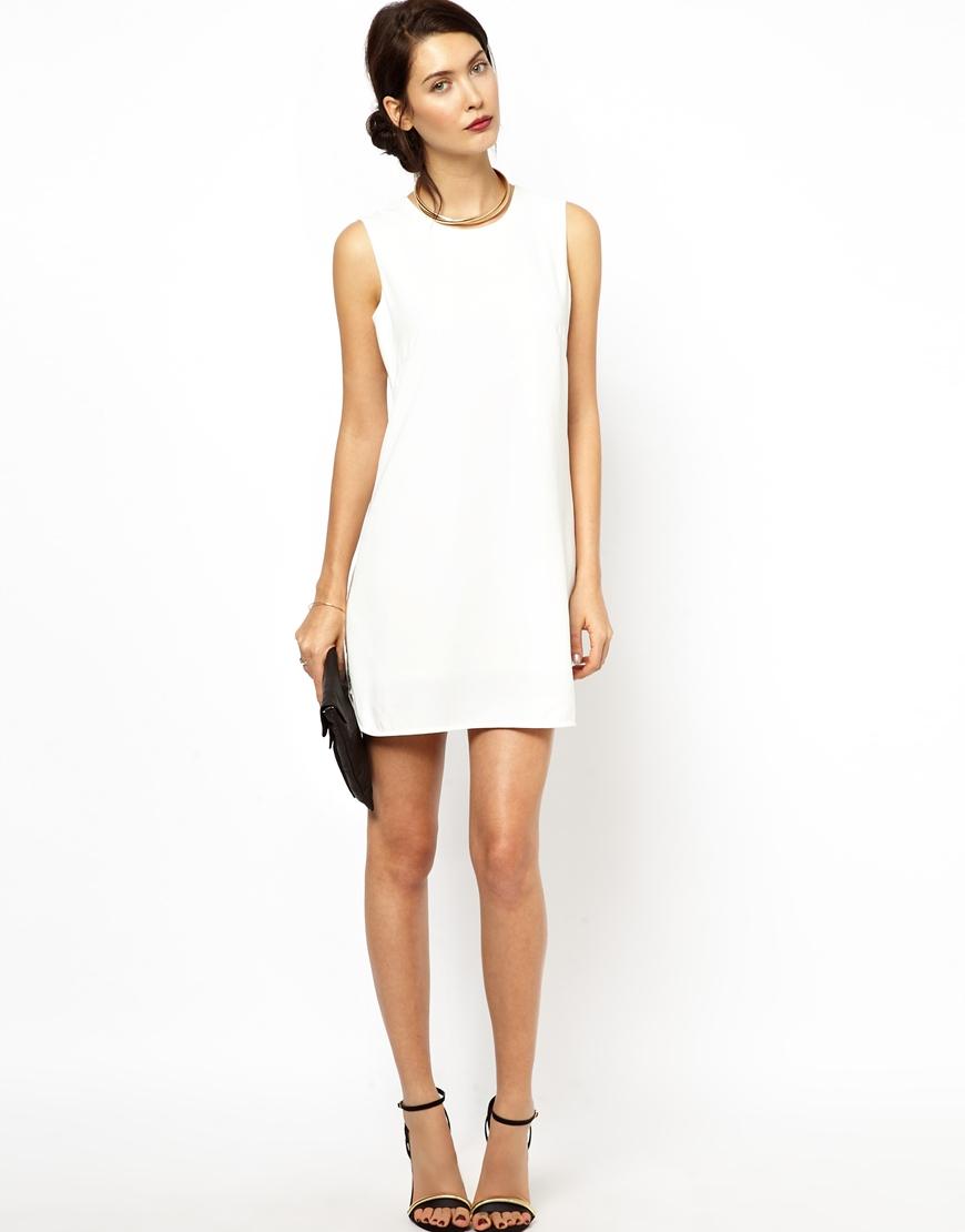 32ab93a25f Lyst - BCBGMAXAZRIA Bcbgmaxazria Shift Dress With Beaded Detail in White