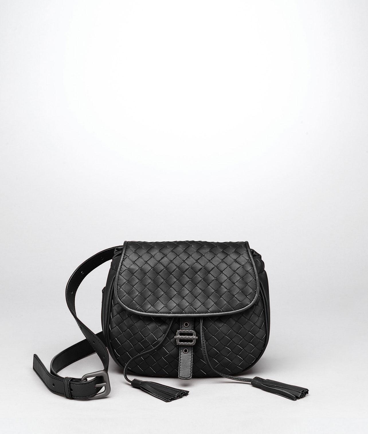 Borse Estate Bottega Veneta : Lyst bottega veneta nero intrecciato nappa messenger bag