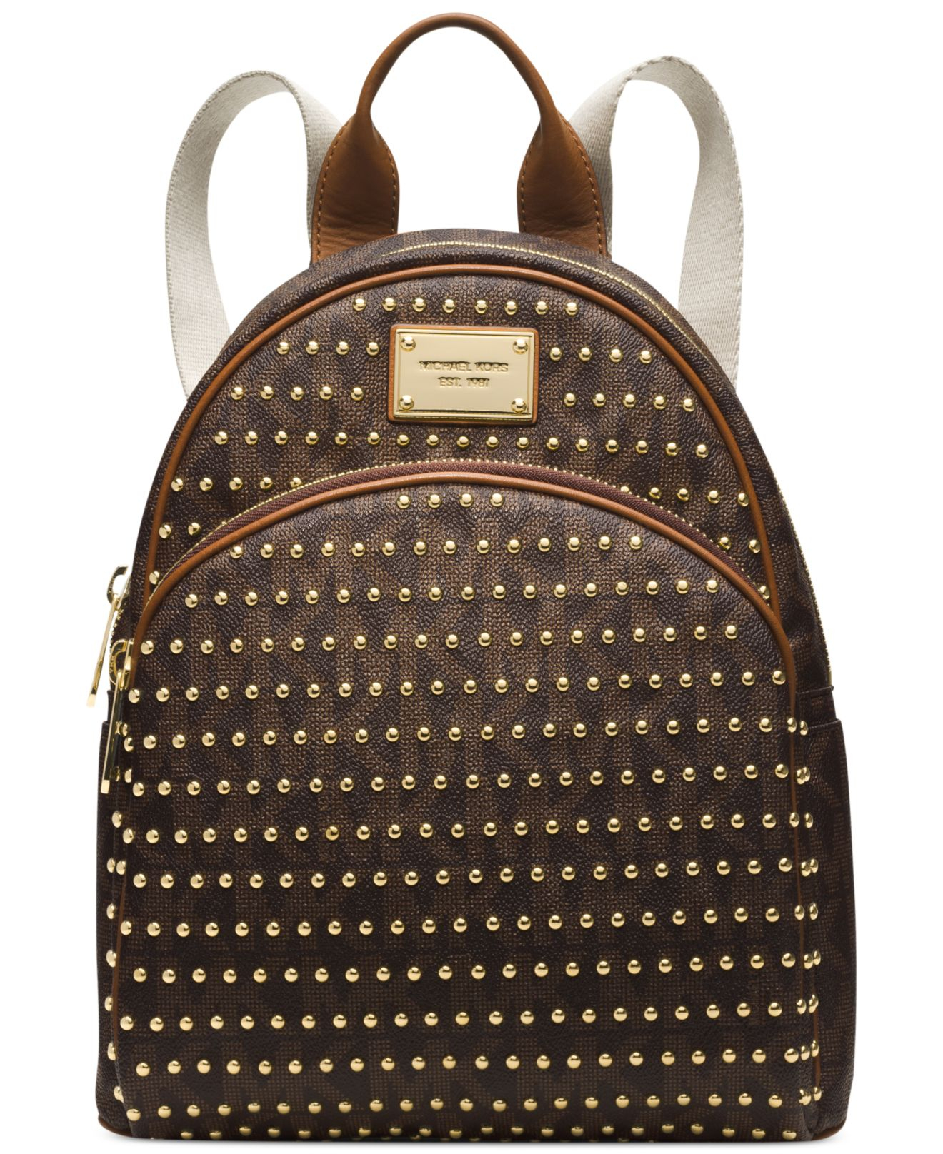 Lyst - Michael Kors Michael Jet Set Item Small Studded Backpack in Brown 7a174e9cafb68